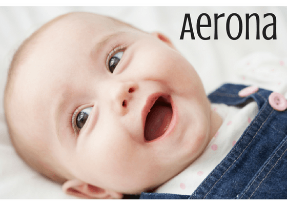 Cute baby girl with Welsh name Aerona