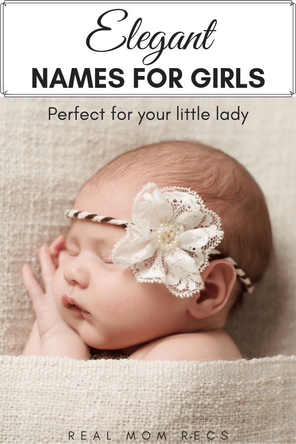 Elegant Girl Names pin image with text and image of baby sleeping